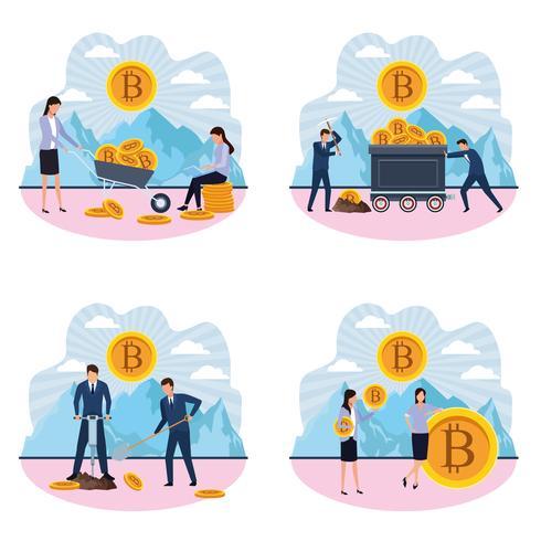 uppsättning digital gruvdrift bitcoin kvinnor och män vektor