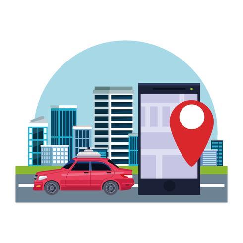 taxibilservice plats koncept vektor