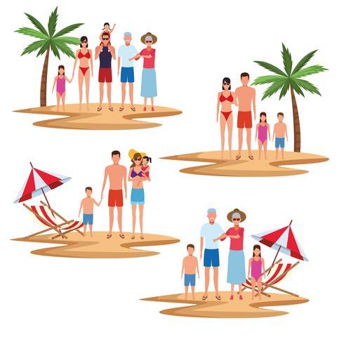 semester på stranden familjen vektor