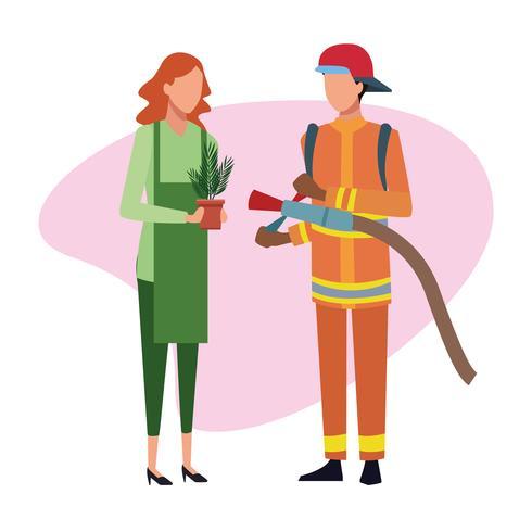 Feuerwehrmann und Gärtner Job und Arbeiter vektor
