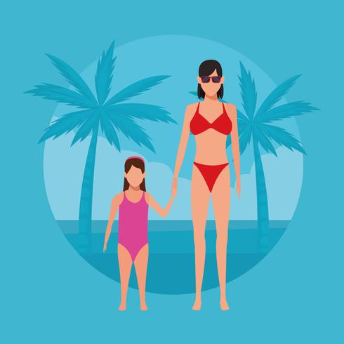 semester på stranden vektor