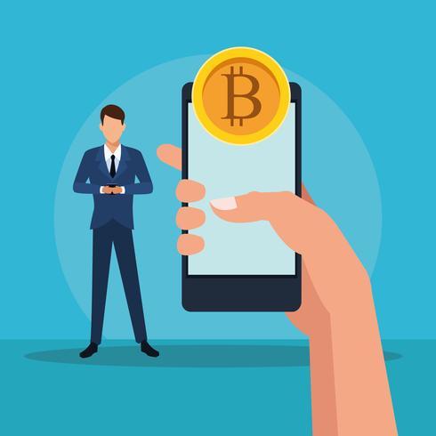 Bitcoin cryptocurrency-teknik vektor