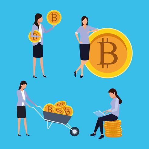 uppsättning digital gruvdrift bitcoin kvinna vektor