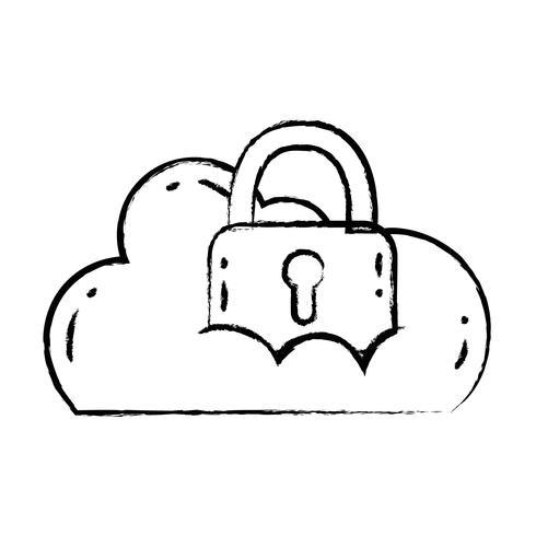 Wolkendaten mit Vorhängeschloss für Sicherheitsinformationen vektor