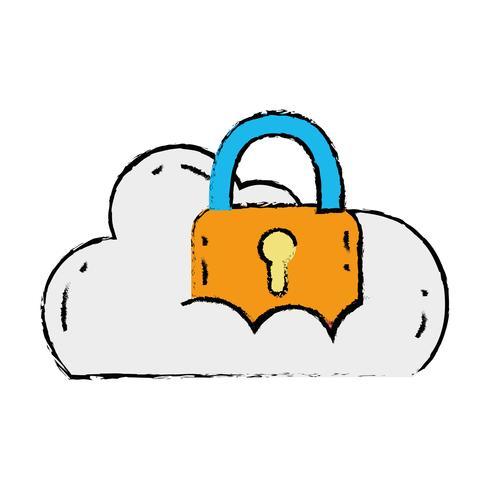 Cloud-Daten mit Vorhängeschloss für Sicherheitsinformationen vektor