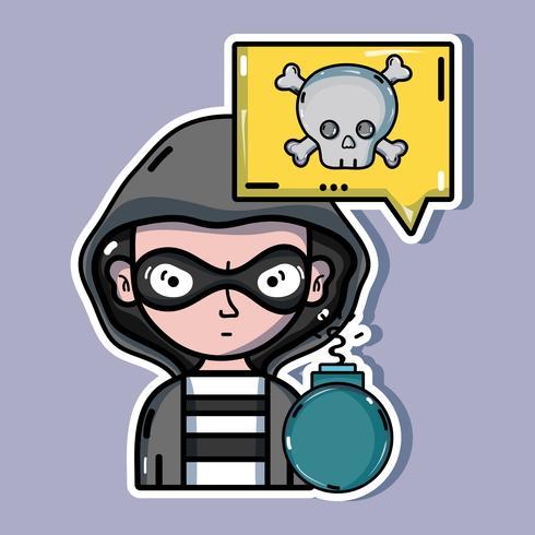 person hacker till programmerare virus i systemet vektor