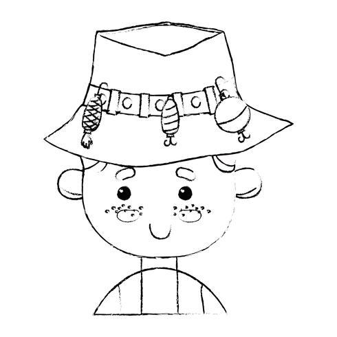 Figur Fischer mit Hutdesign und lustigem Sport vektor