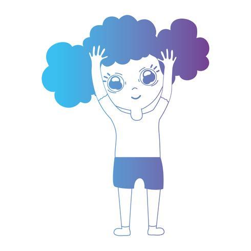 line avatar flicka med frisyr och kläder vektor