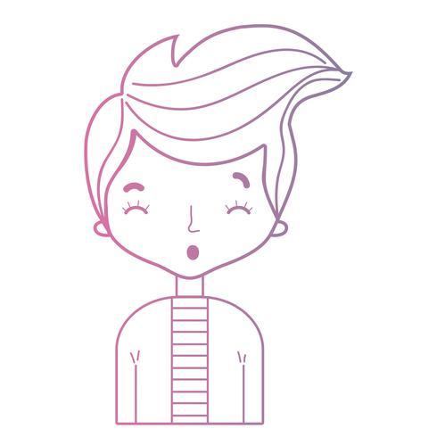 linje söt man med frisyrdesign och skjorta vektor