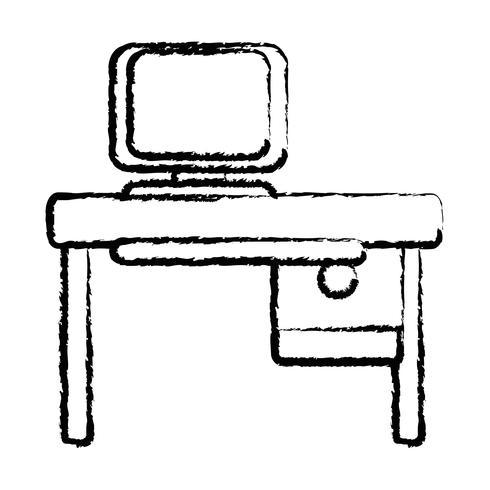 Figur Büro mit Computertechnik und Holzschreibtisch vektor