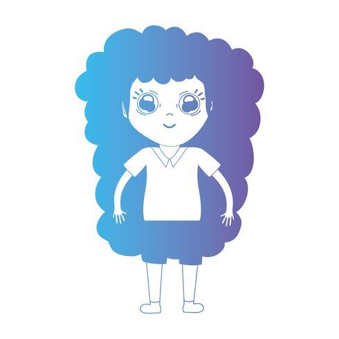 Linie Avatar Mädchen mit Frisur und Kleidung vektor