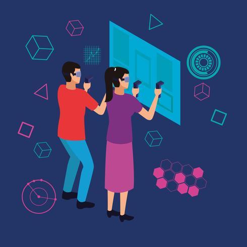 Paar spielt mit der virtuellen Realität vektor