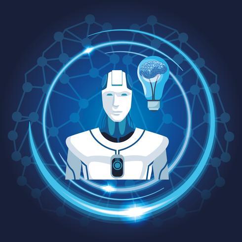 robot med konstgjord intelligens vektor
