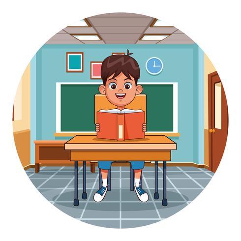 Kinderlesebuch im Klassenzimmer vektor