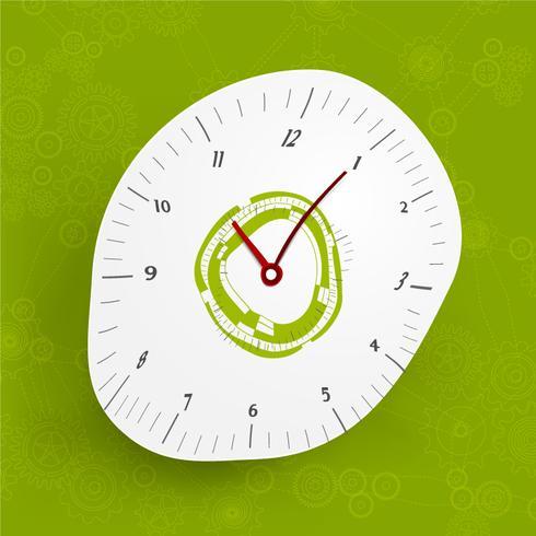 Zusammenfassung verzerrte Uhr auf grünem Gang- und Zahnhintergrund vektor