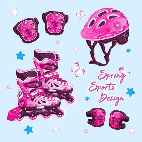En uppsättning sportartiklar för rullbana i vårdesign med blommönster. Rullskridskor, hjälm, knäskydd och armbågsskydd. Vector tecknad tillbehör set.