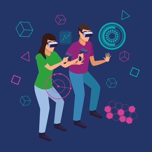 Par som leker med virtuell verklighet vektor