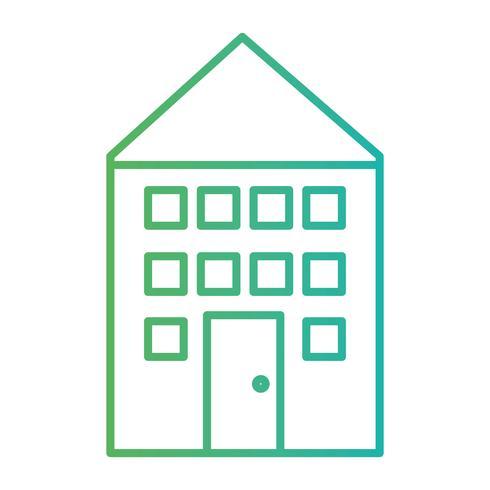 linje lägenhet hem med fönster och dörr vektor