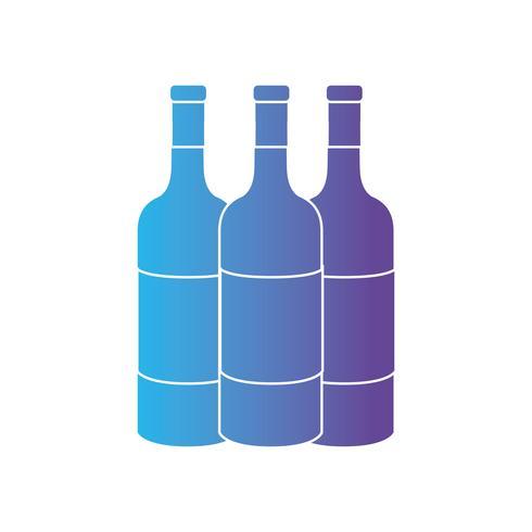 linje vinflaskor till celebretion dryck vektor