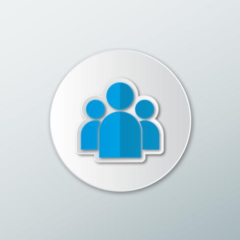 Blå ikon silhuett av en grupp människor vektor