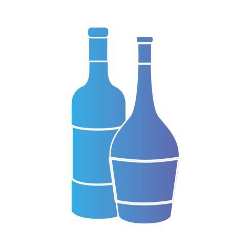 Linie Weinflaschen zum Feiergetränk vektor