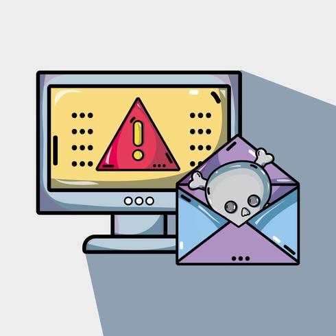 dator med virus i systeminformationen vektor