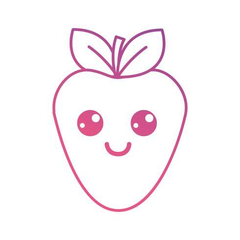 line kawaii söt glad jordgubbsfrukt vektor