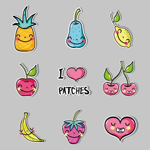 Set tropische Kawaii Patches Früchte Design vektor
