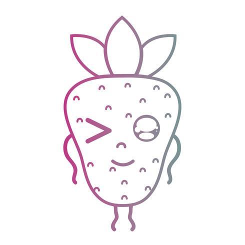 line kawaii gullig glad jordgubbefrukt vektor