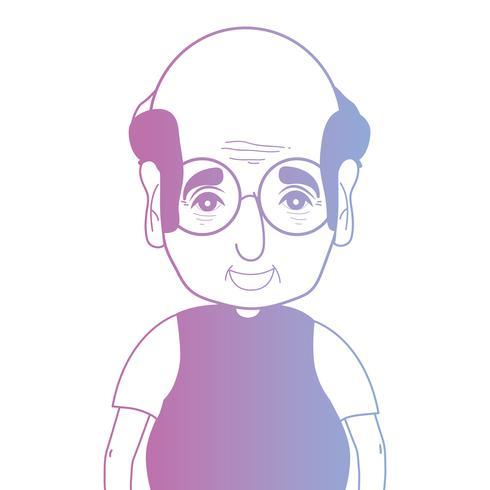 line avatar man med frisyr och t-shirt vektor