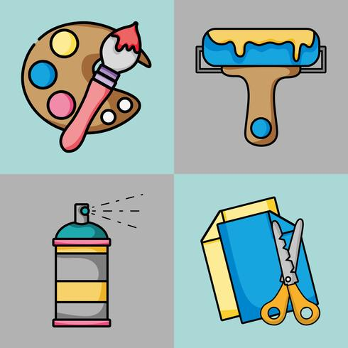 Setze kreative Kunst- und Handwerksobjekte vektor