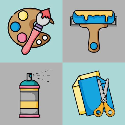 ställa in konst och hantverk kreativa objekt vektor