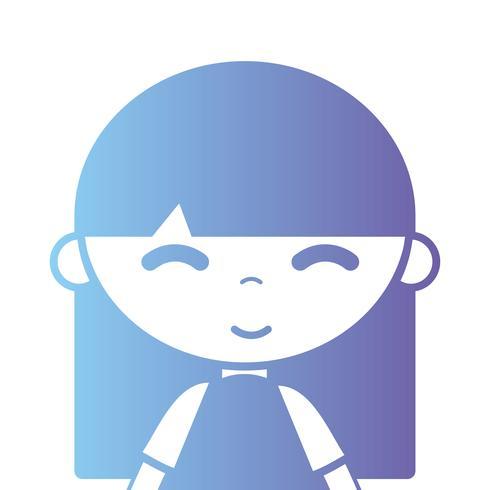 silhuett tjej med blus och frisyr design vektor