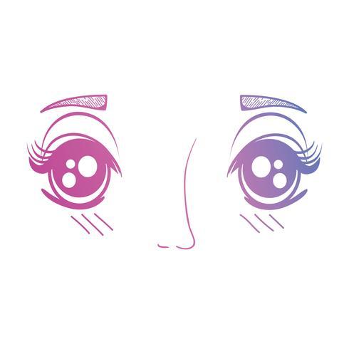 line anime girl face expression vektor