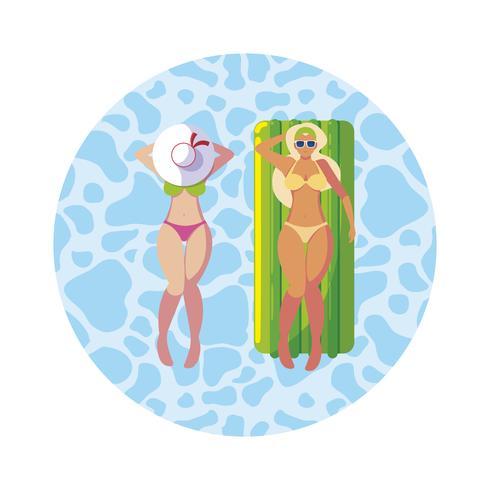 schöne Mädchen mit Schwimmermatratze im Wasser schweben vektor