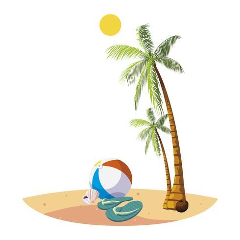 Sommerstrand mit Palmen und Ballonspielzeugszene vektor