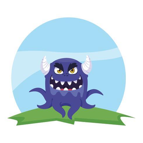 roligt monster med horn i fältet vektor