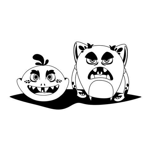 roliga monster par komiska karaktärer monokrom vektor