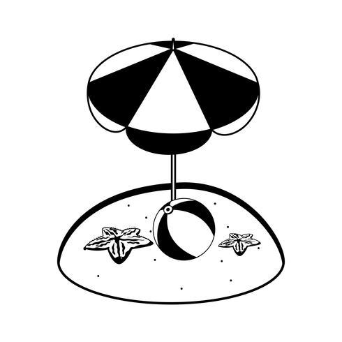 sommarsandstrand med paraply och sjöstjärna vektor