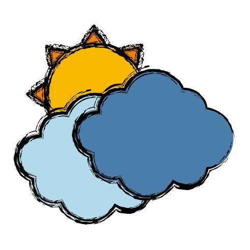 Wolken und Sonne-Symbol vektor