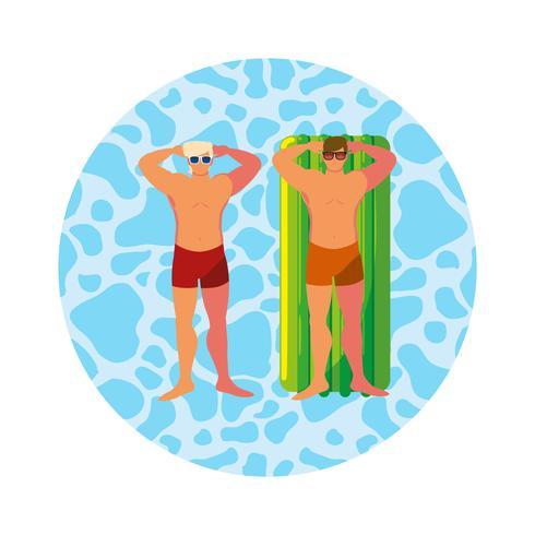 junge Männer mit Badeanzug und Schwimmmatratze im Wasser vektor
