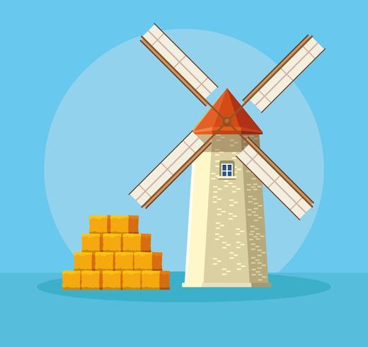 Bauernhof Windmühle mit Strohhalmen vektor