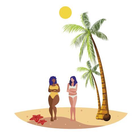 unga interracial flickor par på stranden sommar scen vektor