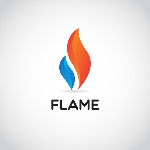 Säubern Sie rotes und blaues Flammen-Logo vektor