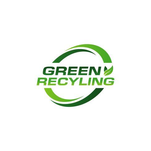 Grön återvinningslogotyp vektor
