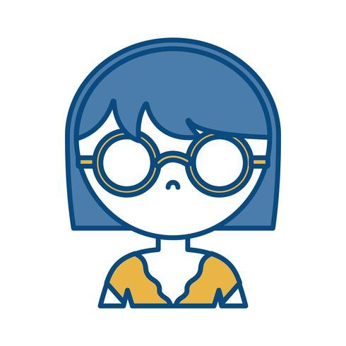 tjej med glasögon ikonen vektor