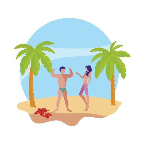 ungt par på sommarscenen på stranden vektor