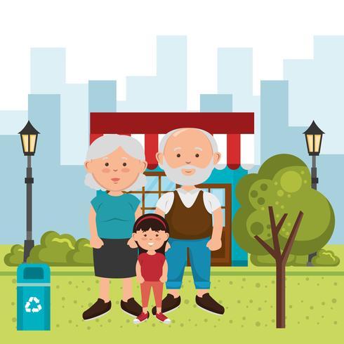 familjemedlemmar på parken vektor