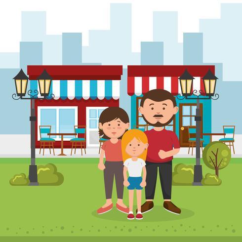 Föräldrar och dotter på parken vektor
