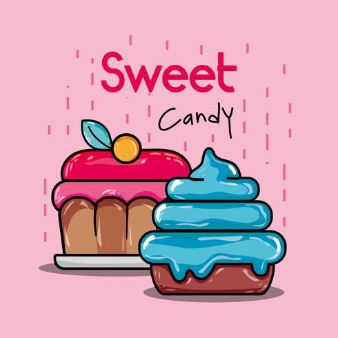 söta muffins med rosa och blå glasyr vektor